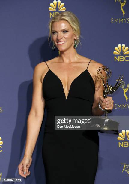 Liz Stanton poses with the Outstanding Variety Talk Series award for 'Last Week Tonight with John Oliver' in the press room on September 17, 2018 in...