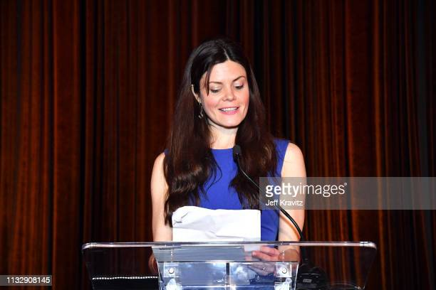 Liz Storm speaks onstage during CytoDyn's Pro 140 Awareness Event for HIV and Cancer Prevention at The Roosevelt Hotel in Hollywood on February 28...