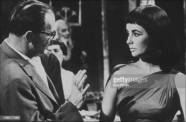 Liz Taylor and Joseph Mankiewicz on the film set of 'Cleopatra' directed by Joseph L Mankiewicz in 1963