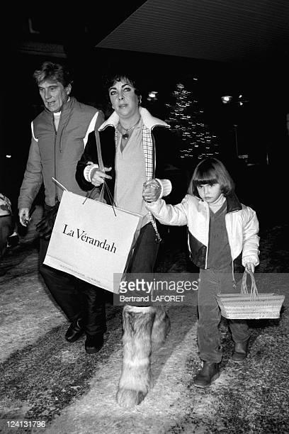 Liz Taylor with husband John Warner in Gstaad, Switzerland on December 30, 1980.