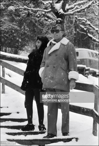 Liz Taylor with Richard Burton in Gstaad, Switzerland on December 22, 1964