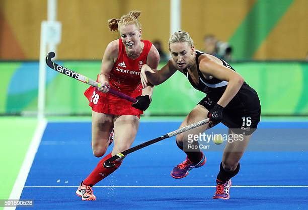 Liz Thompson of New Zealand and Nicola White of Great Britain and during the Women's Semifinal match between New Zealand and Great Britain on Day 12...