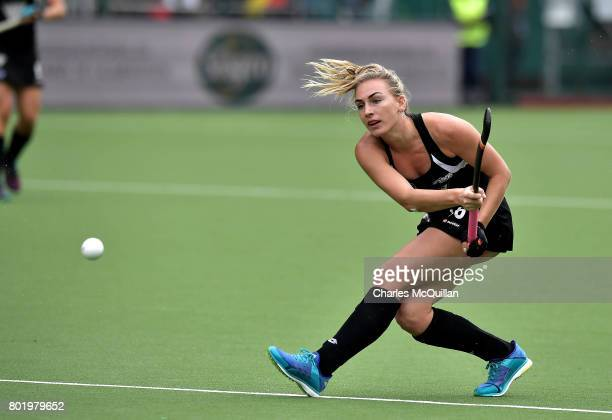 Liz Thompson of New Zealand sees her effort blocked during the FINTRO Women's Hockey World League SemiFinal Pool B game between New Zealand and...