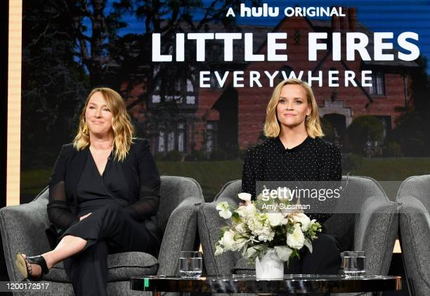 Liz Tigelaar and Reese Witherspoon of Little Fires Everywhere speak during the Hulu segment of the 2020 Winter TCA Press Tour at The Langham...
