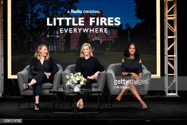 Liz Tigelaar Reese Witherspoon and Kerry Washington speak onstage during the Hulu Panel at Winter TCA 2020 at The Langham Huntington Pasadena on...