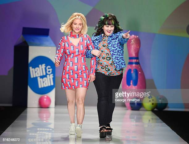 Liz Trinnear and designer Hayley Elsaesser present her 2016 collection during Toronto Fashion Week Fall 2016 at David Pecaut Square on March 17 2016...