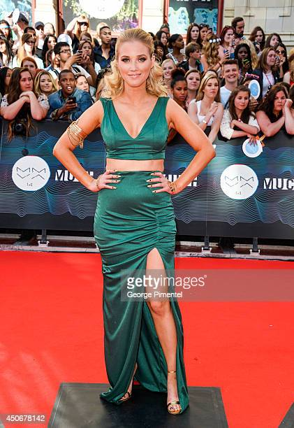 Liz Trinnear arrives at the 2014 MuchMusic Video Awards at MuchMusic HQ on June 15 2014 in Toronto Canada