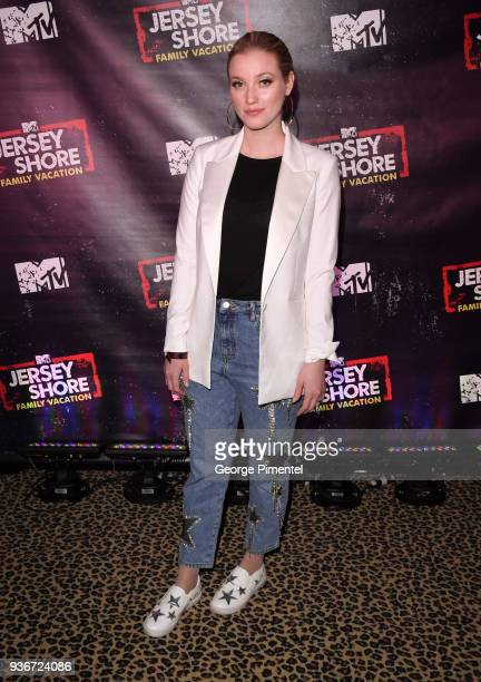 Liz Trinnear attends the 'Jersey Shore Family Vacation' TV show premiere held at Pick 6ix on March 22 2018 in Toronto Canada