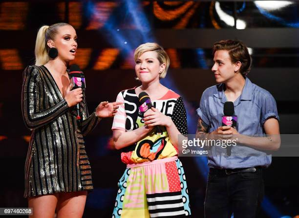 Liz Trinnear Carly Rae Jepsen and Scott Helman present at the 2017 iHeartRADIO MuchMusic Video Awards at MuchMusic HQ on June 18 2017 in Toronto...