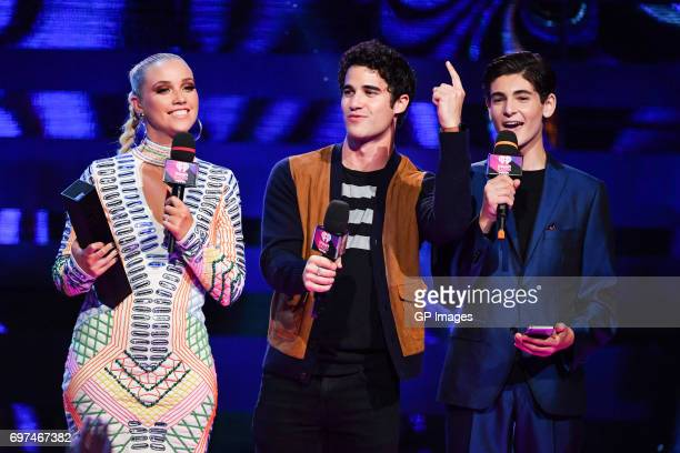 Liz Trinnear Darren Criss and David Mazouz at the 2017 iHeartRADIO MuchMusic Video Awards at MuchMusic HQ on June 18 2017 in Toronto Canada on June...