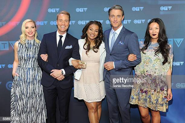 Liz Trinnear Devon Soltendieck Traci Melchor Ben Mulroney and Lainey Lui attend CTV Upfronts 2016 at Sony Centre for the Performing Arts on June 8...