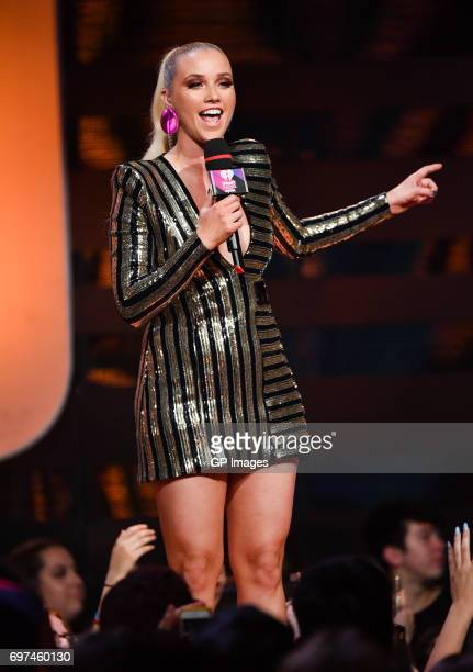 Liz Trinnear presents at the 2017 iHeartRADIO MuchMusic Video Awards at MuchMusic HQ on June 18 2017 in Toronto Canada
