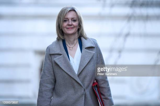 Liz Truss Secretary of State for International Trade arrives at Downing Street on February 11 2020 in London England Boris Johnson will give the...