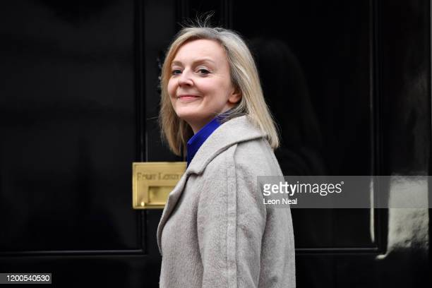Liz Truss Secretary of State for International Trade arrives at Downing Street on February 13 2020 in London England The Prime Minister makes...