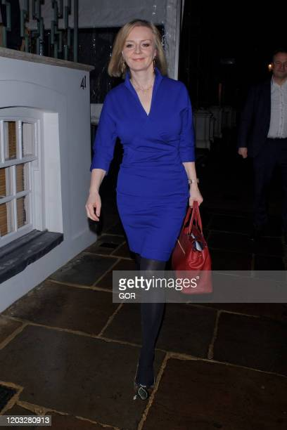 Liz Truss seen arriving at Brexit Celebration Party in Chelsea on January 31 2020 in London England