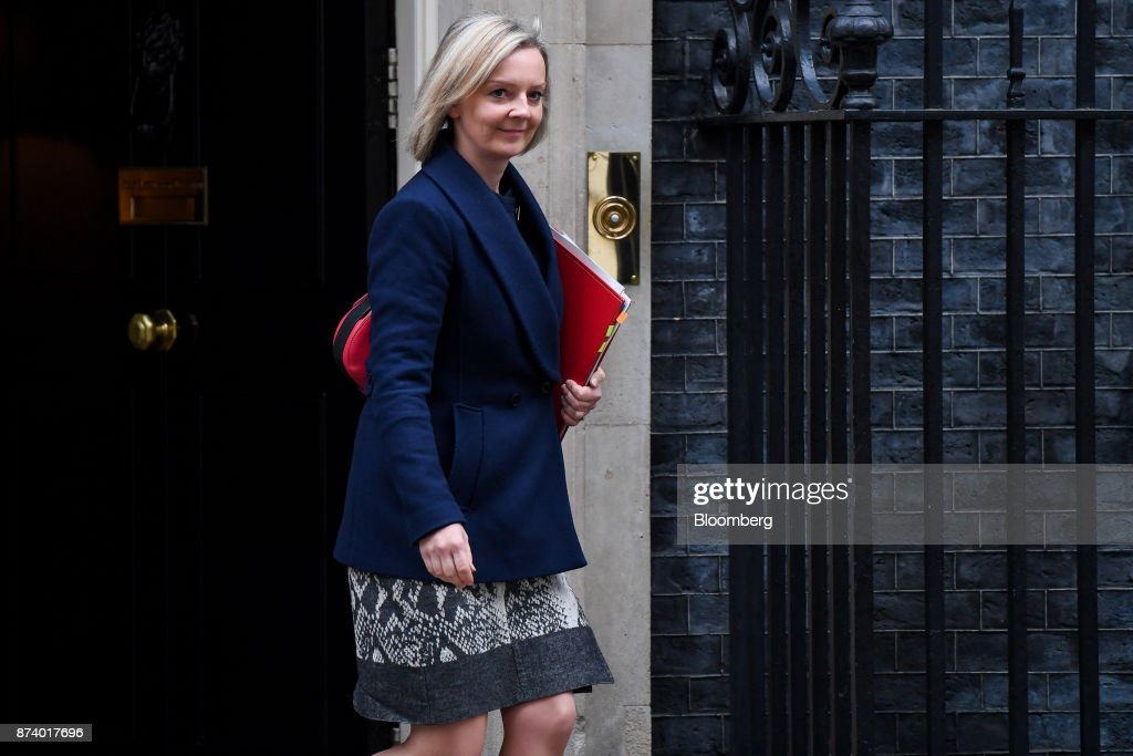 Liz Truss, U.K. chief secretary to the treasury, leaves following a cabinet meeting at number 10 Downing Street in London, U.K., on Tuesday, Nov. 14, 2017. Analysts are more optimistic than the U.K. government that an agreement will be reached with the European Union next month to move Brexit talks on to trade even as Theresa Mays political troubles continue to weigh on the countrys beleaguered currency. Photographer: Chris J. Ratcliffe/Bloomberg via Getty Images