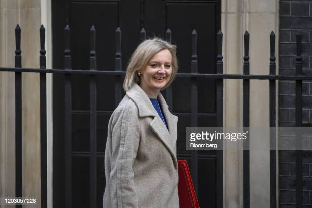 Liz Truss UK international trade secretary arrives for a weekly meeting of cabinet ministers at number 10 Downing Street in London UK on Tuesday Feb...