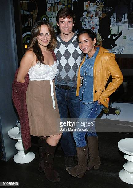 Liz Tuccillo John Carhart and actress Daphne RubinVega attend the Puppy Love web series launch party at The Thom Bar on October 7 2008 in New York...