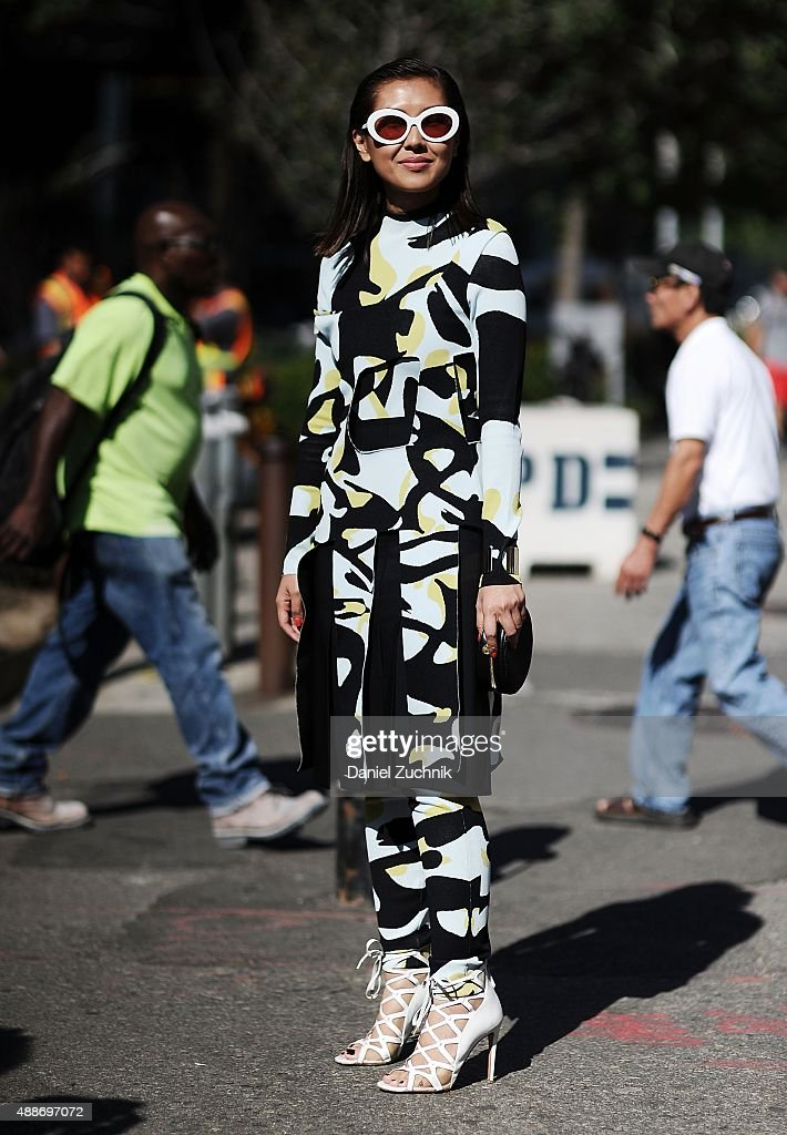 Liz Uy is seen outside the DKNY show wearing a Dior outfit during New York Fashion Week 2016 on September 16, 2015 in New York City.