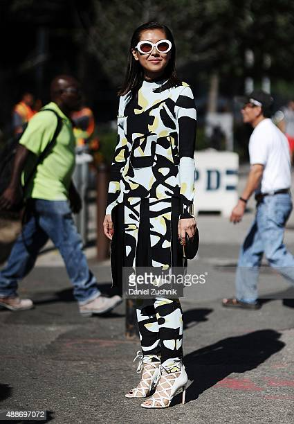 Liz Uy is seen outside the DKNY show wearing a Dior outfit during New York Fashion Week 2016 on September 16 2015 in New York City
