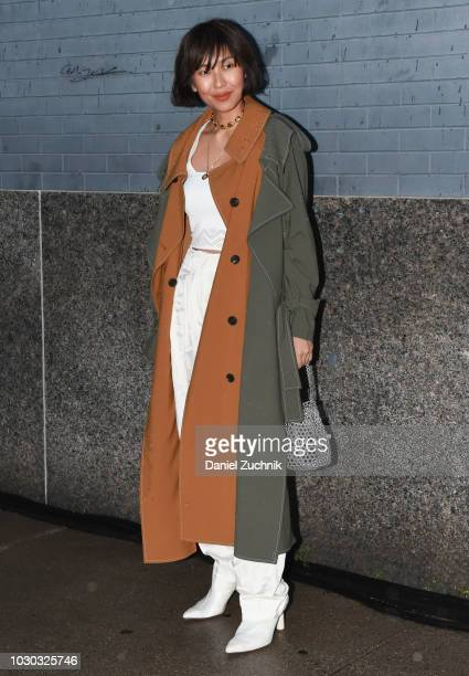 Liz Uy is seen wearing a brown and gray coat outside the Prabal Gurung show during New York Fashion Week Women's S/S 2019 on September 9 2018 in New...