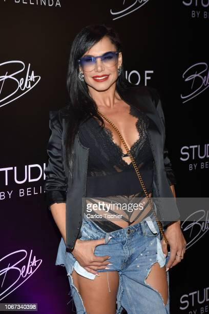 Liz Vega poses for photos during a red carpet of the presentation of the 'Popstar by Belinda' new collection at Club de Banqueros on November 13 2018...