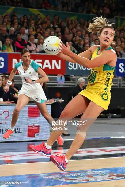 Liz Watson of the Diamonds catches the ball during the Quad Series International Test match between the Australian Diamonds and the New Zealand...