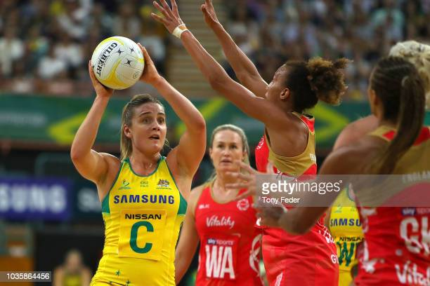 Liz Watson of the Diamonds contests the ball with Serena Guthrie of England during the Quad Series International Netball test match between the...