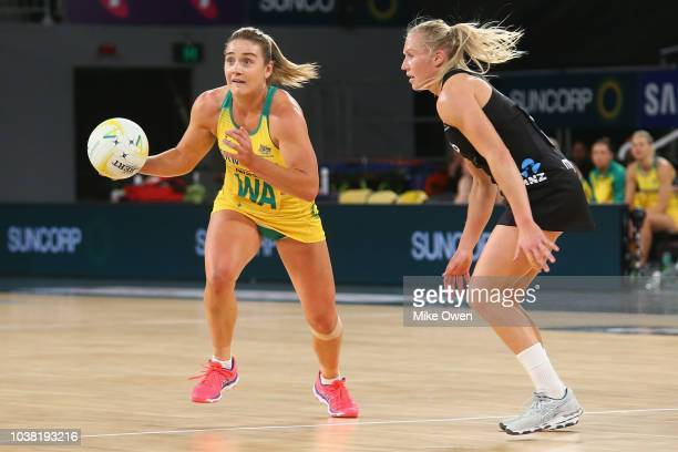 Kim Ravaillion of the Diamonds reacts during the Quad Series International Test match between the Australian Diamonds and the New Zealand Silver...