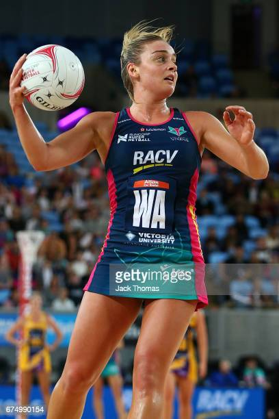 Liz Watson of the Melbourne Vixens looks to pass during the round 10 Super Netball match between the Vixens and the Lightning at Margaret Court Arena...