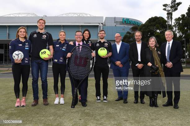 Liz Watson of the Melbourne Vixens Mitch McCarron of Melbourne United Kate Moloney of the Melbourne Vixens John Eren MP Minister for Sport Tourism...