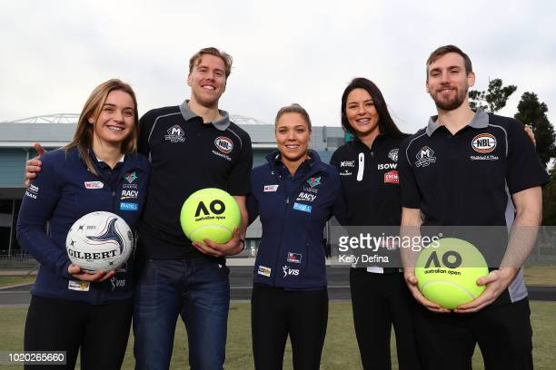 Sharni Layton of the Collingwood Magpies speaks to media during the Melbourne Arena naming announcement at Melbourne Park on August 21 2018 in...