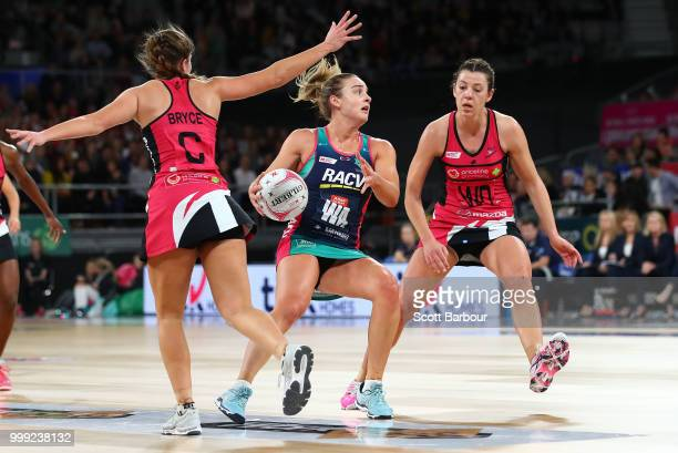 Liz Watson of the Vixens competes for the ball during the round 11 Super Netball match between the Vixens and the Thunderbirds at Hisense Arena on...