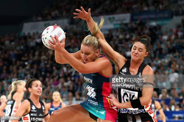 Liz Watson of the Vixens gathers the ball during round one of the Super Netball match between the Vixens and Magpies at Hisense Arena on February 18...