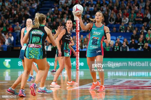 Liz Watson of the Vixens passes the ball during the round 14 Super Netball match between the Fever and the Vixens at Perth Arena on May 27 2017 in...