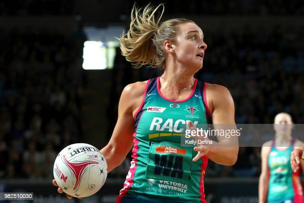 Liz Watson of the Vixens passes the ball during the round eight Super Netball match between Magpies and the Vixens at Margaret Court Arena on June 24...