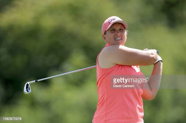 Liz Young of England plays her tee shot on the second hole during The Rose Ladies Series at The Shire London on July 30 2020 in Barnet England
