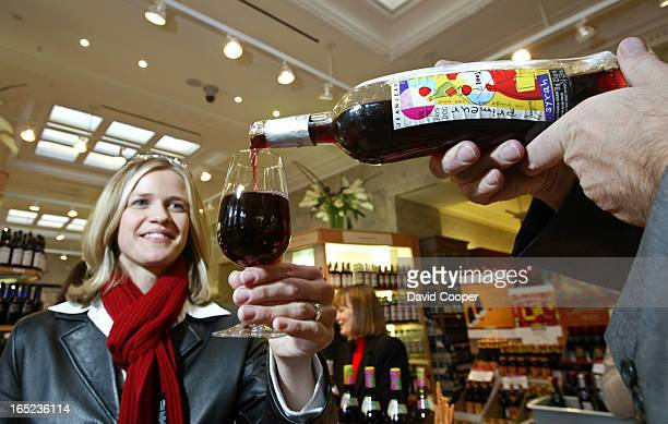 Liz Ziabis tastes Jeanjean Syrah Primeur Vin de Pays d'Oc one of the new issue of Beaujolais Nouveau at a public tasting at the Yonge Summerhill LCBO...