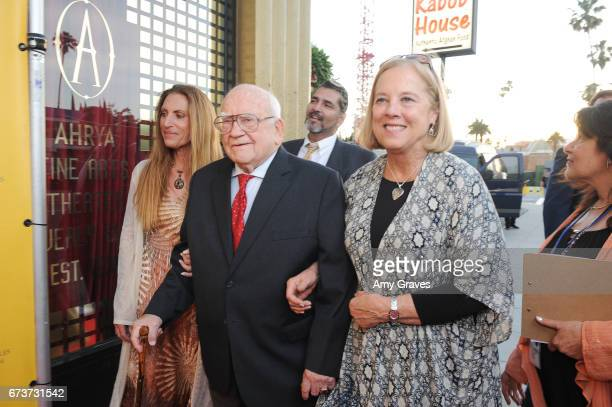 Liza Asner Ed Asner and Sharon Baker attend the Opening Night Gala of the LAJFF 2017 in Los Angeles on April 26 2017 in Los Angeles California