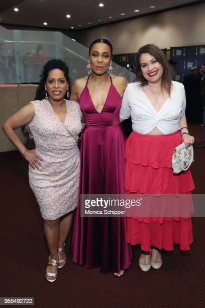 Liza ColonZayas Karen Pittman and Vanessa Aspillaga attend the 33rd Annual Lucille Lortel Awards on May 6 2018 in New York City