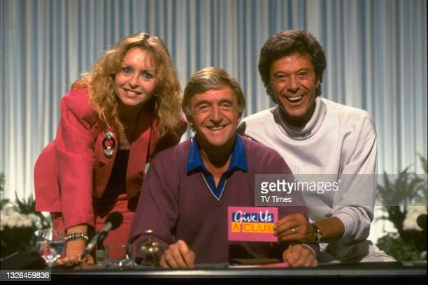 Liza Goddard, Michael Parkinson and Lionel Blair, team leaders and host of game show Give us a Clue. TVT Archive 1991 55.