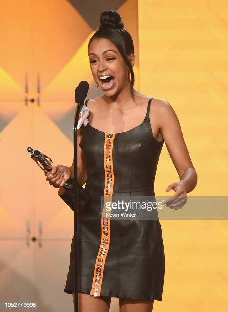 Liza Koshy accepts the Acting in a Comedy award for 'Liza on Demand' onstage during The 8th Annual Streamy Awards at The Beverly Hilton Hotel on...