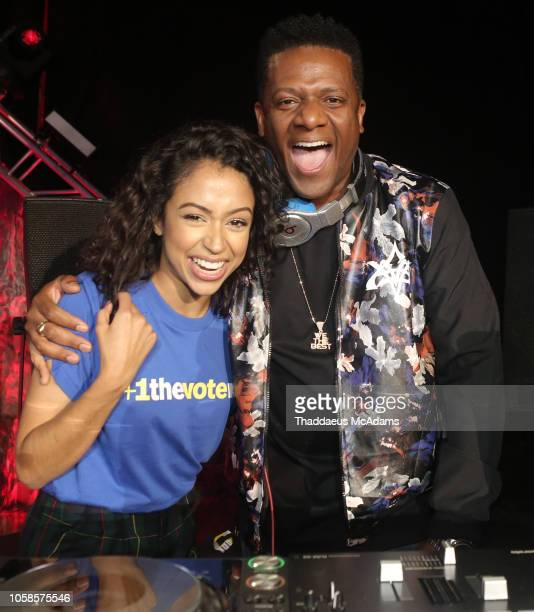Liza Koshy and DJ Nasty at the MTV 1 The Vote 'Election Afterparty' at Miami Dade College on November 6 2018 in Miami Florida