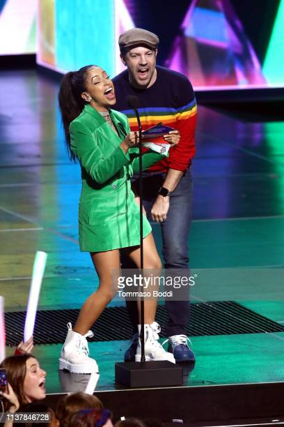 Liza Koshy and Jason Sudeikis speak onstage at Nickelodeon's 2019 Kids' Choice Awards at Galen Center on March 23 2019 in Los Angeles California