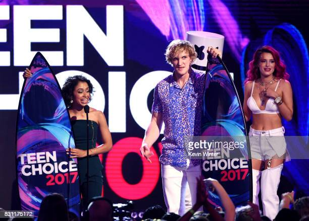 Liza Koshy and Logan Paul accept Choice Female Web Star and Choice Male Web Star onstage during the Teen Choice Awards 2017 at Galen Center on August...