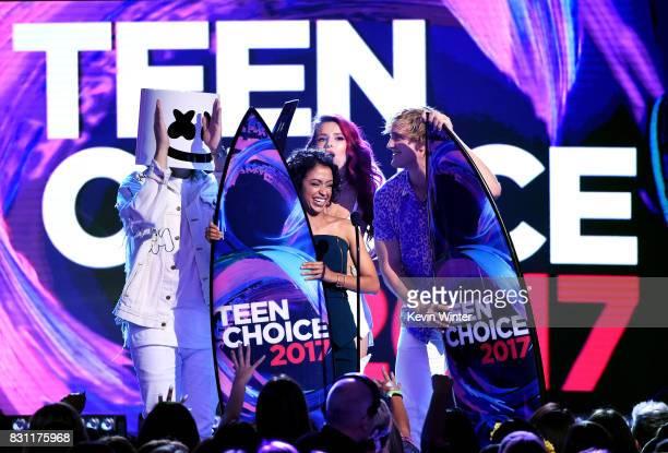 Liza Koshy and Logan Paul accept Choice Female Web Star and Choice Male Web Star onstage during the Teen Choice Awards 2017 at Galen Center on August...