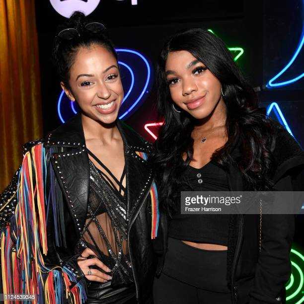 Liza Koshy and Teala Dunn attend Spotify Cosmic Playlist Launch Event at Gold Diggers on January 23 2019 in Los Angeles California