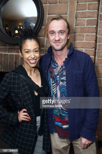 LIza Koshy and Tom Felton attend a Celebration of YouTube Originals at Chateau Marmont on November 13 2018 in Los Angeles California