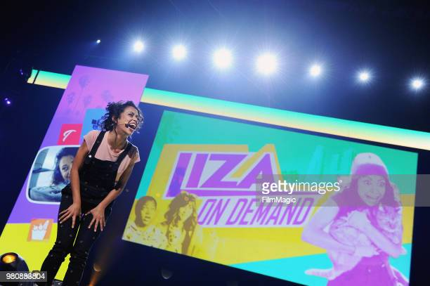 Liza Koshy appears at YouTube OnStage during VidCon at the Anaheim Convention Center Arena on June 21 2018 in Anaheim California