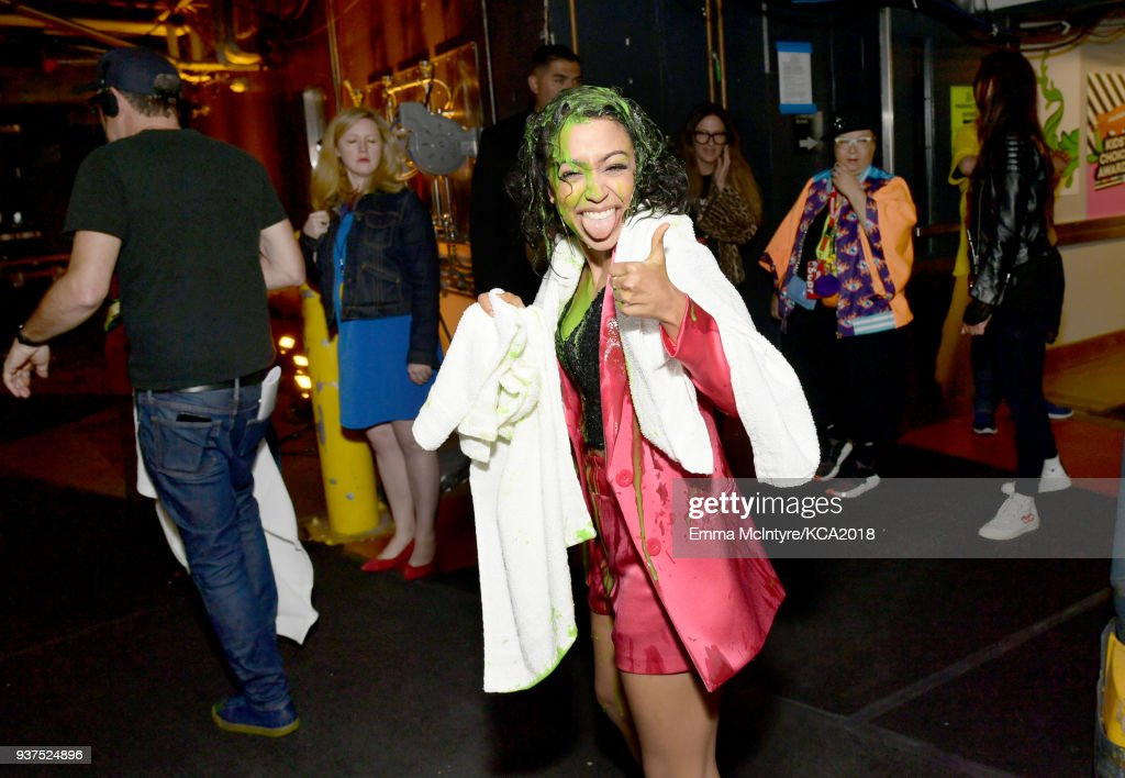 Liza Koshy backstage at Nickelodeon's 2018 Kids' Choice Awards at The Forum on March 24, 2018 in Inglewood, California.